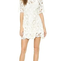 Nightcap Clothing Daisy Crochet Fit & Flare Dress