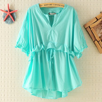 Womens Lace-up V-neck Slim Shirts for Summer