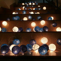 5 Packs of Blue Set Colour Set Cotton balls Hanging stringlights for party and home decoration indoor and outdoor (20 balls/pack)