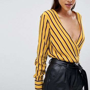 Y.A.S Striped Wrap Blouse at asos.com