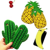 New 3D Cute Cactus Pineapple Banana Soft Silicone Cases For IPhone6 6S Plus 5 5S SE Phone Case