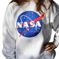NASA Printed Pullover Sweatshirt
