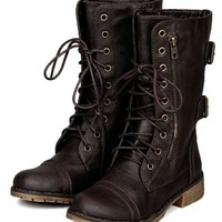 Nature Breeze AC21 Women Zipper Round Toe Military Lace Up Boot - Brown