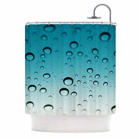 "Kristi Jackson ""Blue Rain"" Teal Ombre Shower Curtain"