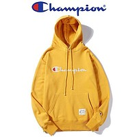 Champion New fashion embroidery letter hooded long sleeve sweater top Yellow