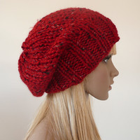 Hand Knit Slouchy Hat Red & Multicolor flecks Slouchy beanie unisex