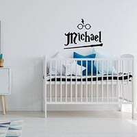 Harry Potter Nursery Name Wall Decal - Boys Name Wall Decal Harry Potter Themed Hogwarts Decor - Personalized Harry Potter Gifts Boys Girls