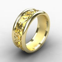 Yellow gold wedding band, wide ring, filigree, mens ring, men gold wedding, unique, men modern ring, commitment, wide ring