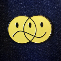 Happy Sad Venn Diagram Smiley Face Metal Enamel Pin Badge