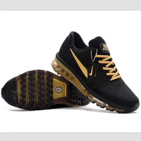 NIKE trend of plastic bottom casual shoes breathable running shoes Black gold
