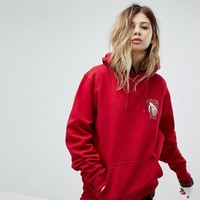 Vans Oversized Hoodie In Red With Back Print at asos.com