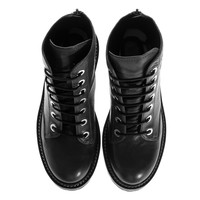 KENZO Tiger Nappa Neutral Gray Lace-up leather boots with logo - Shoes
