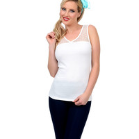 Ivory Heart Aboard Sleeveless Sheer Panel Top