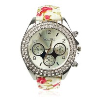 Country Style Floral Print Ladies Sports Watch