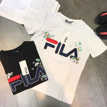 """""""Fila"""" Women Simple Casual Letter Flower Embroidery Short Sleeve T-shirt Top Tee"""