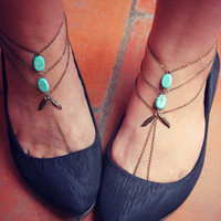 feather and turquoise slave anklet set