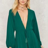 Give a Cinch Plunging Romper