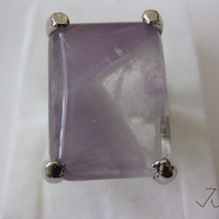 Amethyst Stone Silver Plated Ring - Size 9.25