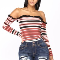 Brea Off The Shoulder Striped Top - Rust Combo