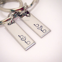 Couples Keychains, Personalized Keychains, His Hers Keychains, Couples Gift, Key chain, Accessory, stamped keychains, Rectangle Keychains