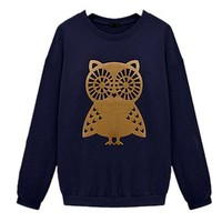 Women Long Sleeve Owl Casual T Shirt Hoodie Sweatshirt Pullover Tops (L ( US  M), Beige)