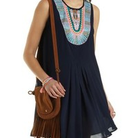 Embroidered Bib Trapeze Dress by Charlotte Russe