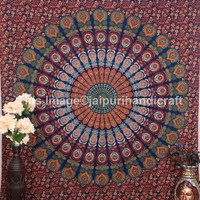 Psychedelic Mandala Hippie Large Tapestry, Indian Ethnic wall Decor, Table Runner Bed Sheet, Hippie Dorm Decor - Beach Sheet - Hanging Wall