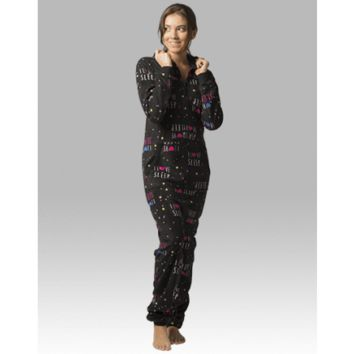 I Love Sleep Pj's - Hooded  Adult Pajamas - Ruffles with Love - RWL
