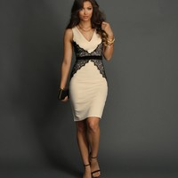 Sale-ivory Scalloped Lace Bodycon Dress