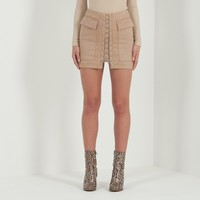 Suede Lace-Up Skirt - Beige