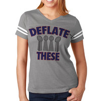 Deflate These Now Available on Women's NFL Football Tee Jersey | New England Jersey | Women's Patriots Tee Shirt | Custom NFL Tees