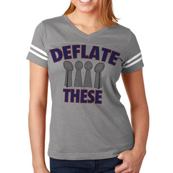 Deflate These Now Available on Women's NFL Football Tee Jersey   New England Jersey   Women's Patriots Tee Shirt   Custom NFL Tees
