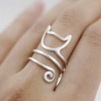 Silver lovely cat Long Tail Wrap ring  jewelry adjustable