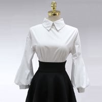 Vintage Lantern Sleeve Blouse 2016 New Fashion Women Turn-down Collar Single Breasted Buttons Loose Puff Tops Cotton White Shirt