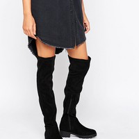 Lost Ink Gain Stretch Chunky Flat Over The Knee Boots