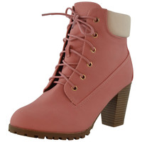 Womens Ankle Boots Rugged Lace Up High Heel Shoes PINK