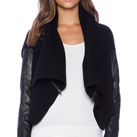 Michael Stars Open Front Rib Cardigan with Zippers in Black
