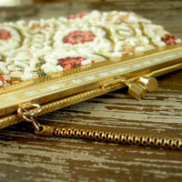 Vintage Floral Tapestry Beaded Purse, Clutch, Evening Bag, Handbag, Chain Strap, Womens Accessory, Prom