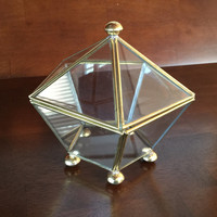 Vintage Brass and Glass Pentagonal Box