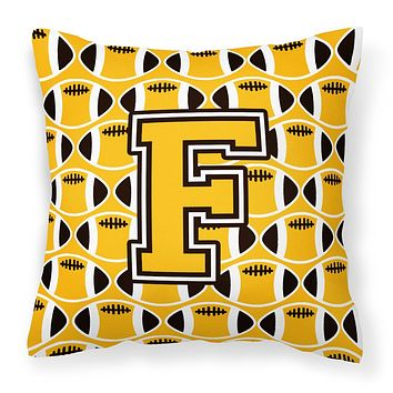 Letter F Football Black, Old Gold and White Fabric Decorative Pillow CJ1080-FPW1414