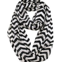 Modadorn New Arrivals Chevron Infinity Scarf BLACK/WHITE