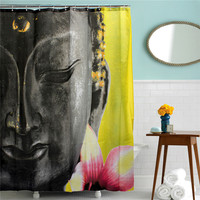 Bath Polyester Fabric Waterproof Shower Curtain Buddha Buddhism Shower Curtain 180 x 200cm With White Hooks