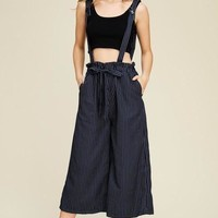 Easy Street Striped Overalls
