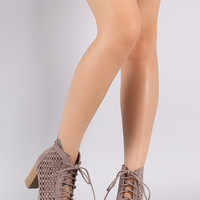 Perforated Lace-Up Chunky Heeled Ankle Boots Taupe or Black
