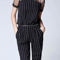 Black Striped Jumpsuit