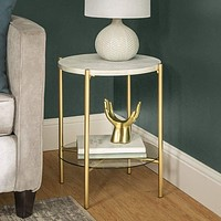 """20"""" Simone Round Side Table - White Marble & Gold"""