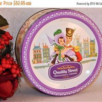 Metal Storage Container Mackintoshs Quality Street Covered Box Candy Tin Vintage 1950s Recency  Miss Sweetly Major Quality Lithograph