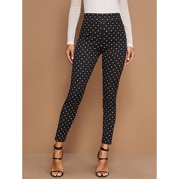 SHEIN Wide Waistband Polka Dot Leggings