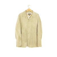 banana republic suede leather jacket - tan - mens L - XL