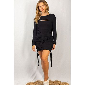 She's Not Shy Black Cutout Ruched Bodycon Dress